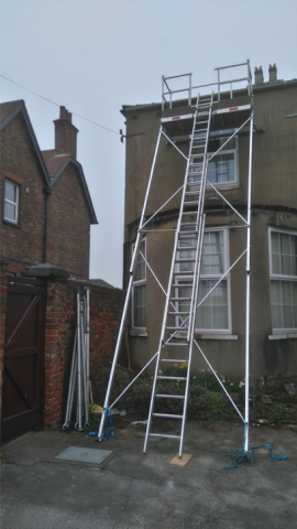access scaffold stretching over a large bay terrace, detached, flat, roof, Garage, roof, roofer, roofing, slate, tile, scarborough, eastfield, newby, osgodby, scalby, burinston, seamer, filey,